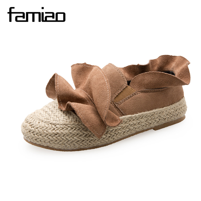FAMIAO Ruffles women shoes Weave causal beach round toe zapatos mujer 2017 escarpins femme Espadrilles flat with shoes