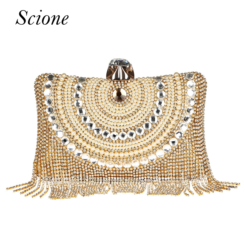 New Women Diamond Wedding bride Shoulder Crossbody Bags Gold Clutch Beaded Tassel Evening Bags Party Purse banquet Handbags Li29