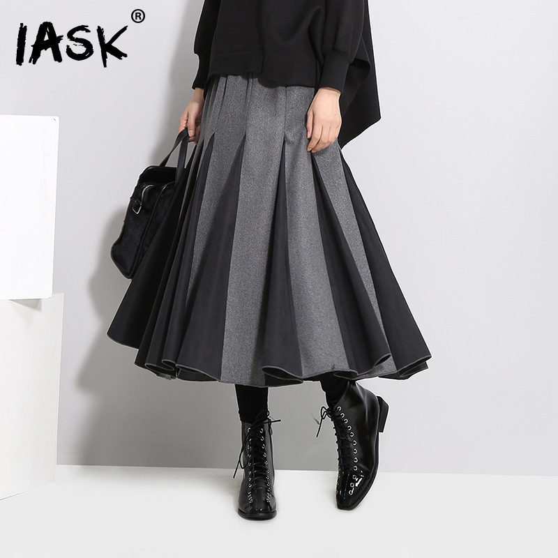 [IASK] 2017 autumn winter high waist solid color black white split joint loose pleated half-body skirt women fashion JD369