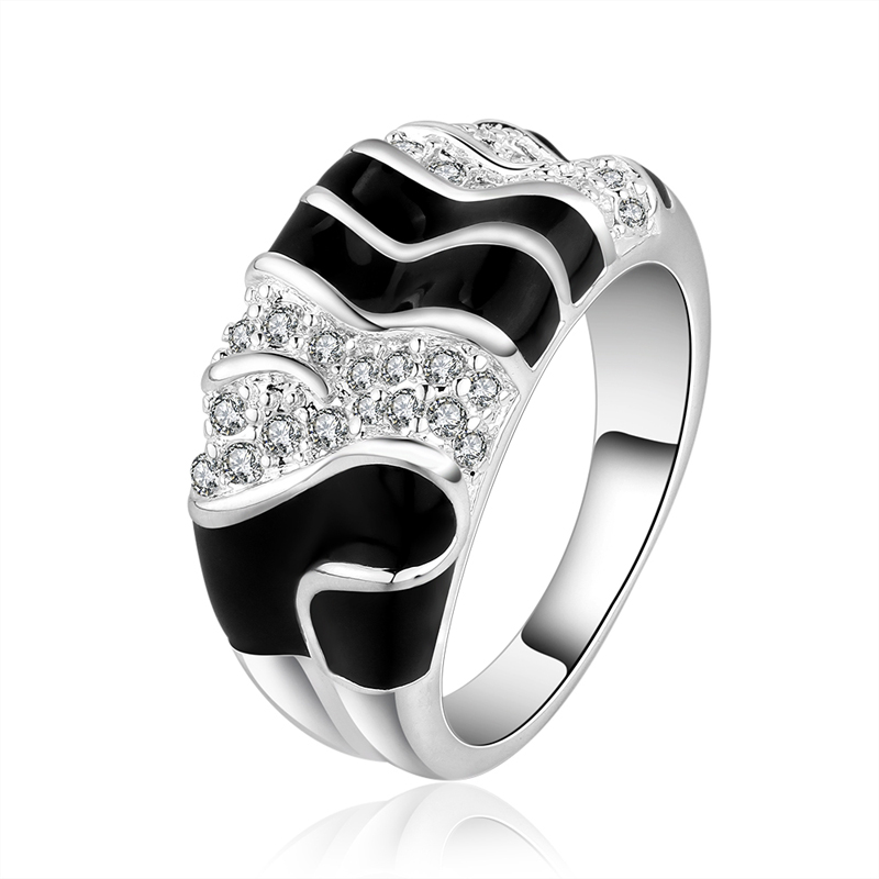 Free Shipping 7-8 Size Rings New Hot Fashion Geometric Shape Black White Stripes Shiny Zircon For Women Jewelry Gift Wholesale