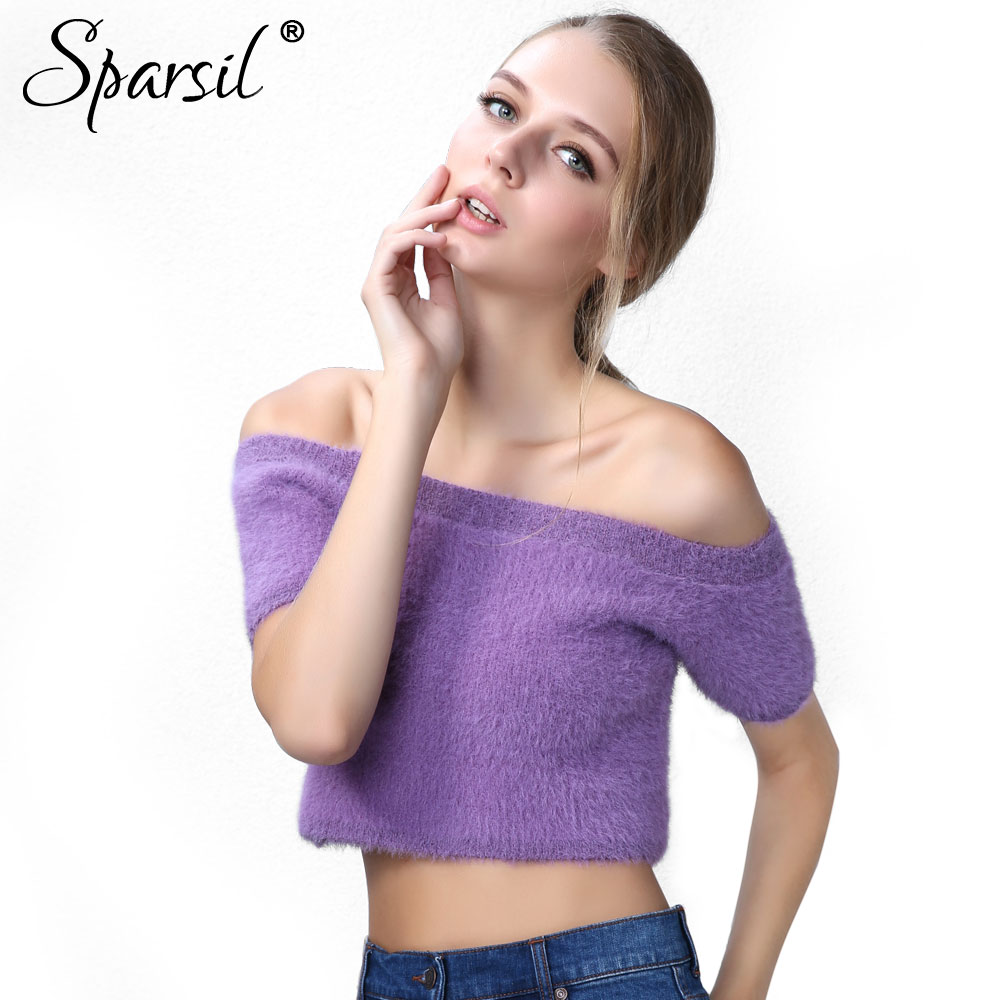 Sparsil Women Off Shoulder Mohair Short Sweaters Slash Neck Waist Exposed Knitted Pullovers Slim Cute Sexy Knitwear Crop Tops